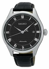 Seiko SRPA97 Men's Core Series Black Leather Band Black Dial Automatic Watch