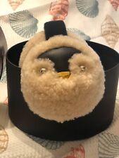 COACH EARMUFFS Penguin Shearling Wool Khaki Authentic NEW WITH BOX