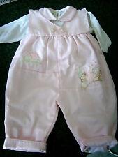 Completo maglietta + salopette neonata 3 mesi rosa cerimonia battesimo Nuovo!!
