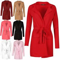 Ladies Pockets Duster Womens Crepe Open Front Collared Belted Cape Cardigan Top
