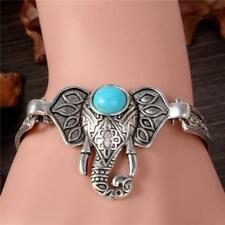 Elephant Bracelet Women Silver Plated Natural Stone NEW