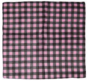 "Wholesale Lot 6 Pink / Black Plaid Checkered 100% Cotton 22""x22"" Bandana"