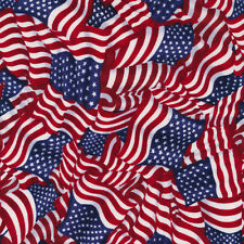 """American Pride Wavy Flag Packed Beautiful 100% cotton Fabric Remnant 31"""""""