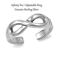 6 mm Silver / Gold / Rose Gold Sterling Silver Infinity Adjustable / Toe Ring -