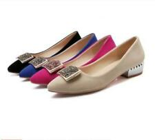 Women's Faux Suede Pointed Toe Pumps Loafer Slip On Casual Flat Shoes Plus Size