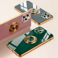 For iPhone 12 11 Pro Max XS XR X 8 7 Plating Ring Holder Soft Glossy Case Cover