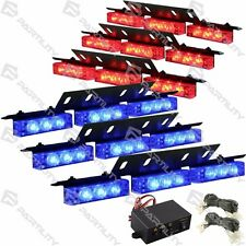 54 LED Red Blue Emergency Truck Car Strobe Flash Light Front Rear Grill