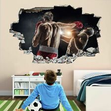 Entrenamiento De Boxeo Boxeador 3D Adhesivo Mural Calcomanía Pared Arte Decoración Habitación Niños Póster BH4