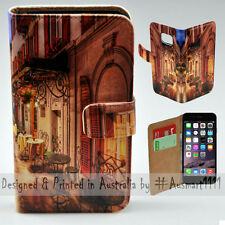 """Wallet Phone Case Flip Cover for iPhone 6 Plus - 5.5"""" Alp Street Night Cafe"""