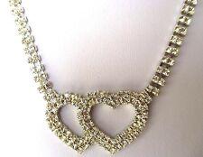 collier bijou vintage couleur argent rivière de cristaux diamant déco coeur 312