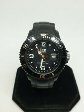 men's genuine black ice watch 10atm,date display,rotating bezel,black strap.#bm.
