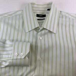 Hugo Boss Mens Dress Shirt Green White Stripe Regular Fit Cotton 17 1/2 X 32/33
