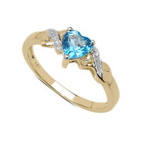9CT GOLD SMALL BLUE TOPAZ HEART & DIAMOND ENGAGEMENT RING SIZE H - U ANNIVERSARY