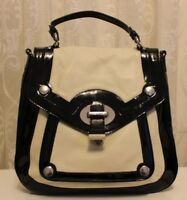 Karen Millen Leather Flap Large Black Contrast Patent Shoulder Tote Handle Bag
