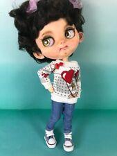 Blythe doll handmade jean pants and sweatshirt clothes