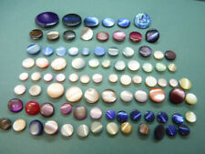 87 Vintage Coloured Mother of Pearl Buttons Solids
