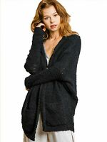 Umgee Black Open Front Cardigan Sweater
