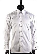Axxess Mens White High Collar French Cuff Button Down Formal Casual Shirt