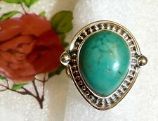 Tibetan Turquoise 925 Sterling Silver Ring Size 6 1/2