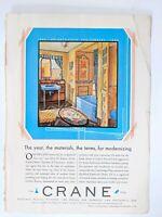 Antique 1930 Color Crane Ad Bathroom Fixtures 75th Anniversary Hearst Cosmo