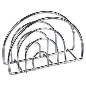 Durable Semi Circle Chrome Wire Napkin Serviette Holder Silver Tissue Dispenser