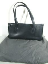 DESMO MADE IN ITALY Black Reptile Embossed Leather Zipper Shoulder Tote f67453a8a2c1c