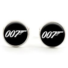 JAMES BOND 007 SPY CUFFLINKS  SILVER PLATED + FREE GIFT BOX  & 1ST CLASS POST