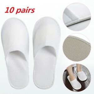 10 PAIRS SPA HOTEL GUEST SLIPPERS CLOSE TOE TOWELLING DISPOSABLE TERRY STYLE NEW