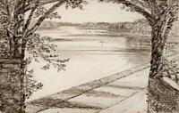 HANNAH SARAH TURNER BRIGHTWEN Small Pen & Ink Drawing FRITTON NORFOLK - c1865