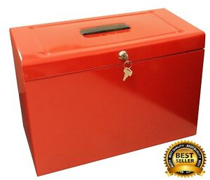 Home Security File A4 Box Safe Lockable Water Fireproof Office Metal Storage Red