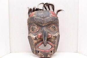 Vintage Eskimo Eagle mask Carved Wood W Hair Northwest Coast Tribal