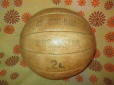 Ancien BALLON MEDECINE-BALL 2Kg en CUIR BERGOSTAR Medicine Sport Fitness Kiné