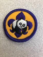 Vintage BSA Boy Girl Scout cute Panda Bear Patch round Environmental Badge