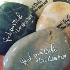 Engraved Rock ~ Find Your Tribe | Word Stone | Inspirational Quote