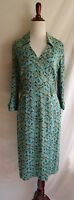 Karen Millen 8 Blue Brown Silk Stretch Snakeskin Animal Print Shirt Career Dress
