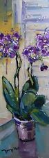"JOSE TRUJILLO ORIGINAL OIL PAINTING IMPRESSIONIST ORCHIDS FLOWERS MODERN 36"" COA"