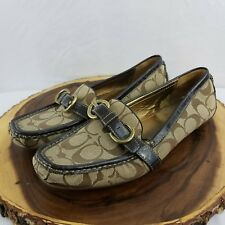 COACH Women's Size 10 Buckle Brown Loafers Shoes Khaki & Tan Flats
