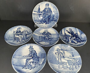 DELFT Blue and White Saloon Series 11cm Dishes Plates Nos. 1, 2, 3, 4, 5 and 6.