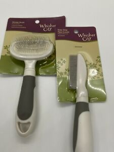 Cat Grooming Slicker Brush and Flea Comb by whisker city