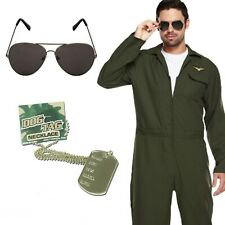 Mens Aviator Jumpsuit Costume Fancy Dress Uniform Pilot Stag Night Party