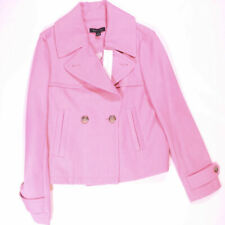 NEW Ann Taylor Cropped Short Trench Coat Double Breasted Deep Carnation Pink 4