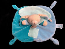 Doudou plat Lapin bleu vert les mem' pacap ! Babynat' Baby Nat' BN0731