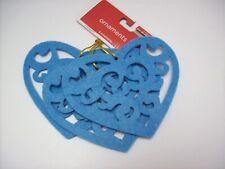 3 Aqua Felt Heart Shaped Diecut Ornaments - New