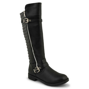 Womens Ladies Low Flat Heel Knee High Boots Black Zipped Shoe Size 3:9