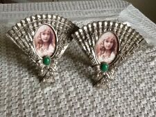 Pair Of Fan Shape Oval Picture Frames Nice
