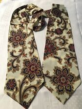 "Estate Woman Tie Scarf 63"" Long Paisley Off White Beige Blue Red   *"