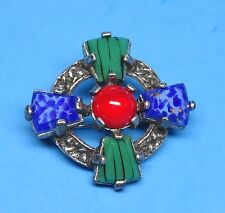 Vintage Scottish Celtic Cross Lucite Agate Plaid Brooch Shawl Pin by MIRACLE