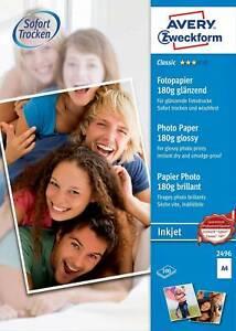 CLASSIC PHOTO PAPER AVERY Zweckform 180g/m2 GLOSSY A4 100 BLATT No. 2496