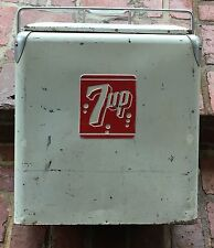 "VIntage 7UP Ice Chest Cooler Progressive Refrigerator Co. 17.5"" X 13""D X 21.5""T"