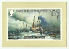Guernsey Xmas 1980 postage stamp Boats at Sea PHQ postcard